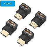 ELUTENG HDMI Winkelstecker 90 Grad und 270 Grad 4K Typ-L HDMI Adapter Winkel Stecker auf Buchse HDMI Abgewinkelt Vergoldete Kontakte für HDTV, DVD-Player, Blu-Ray Player, PC, Audio-Receiver