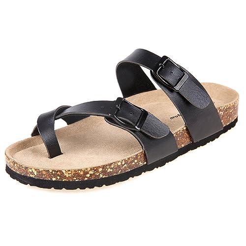 fe3578013 Pinpochyaw Womens Mayari Sandals Summer Leather Strap Cork Sandal (6 B(M) US