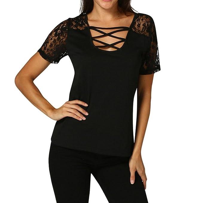 Damen T-Shirt Top mit Spitze Elegant Bluse Sommer Tops Kurzarm Shirt mit  Schnürung Lace 936770f2b7