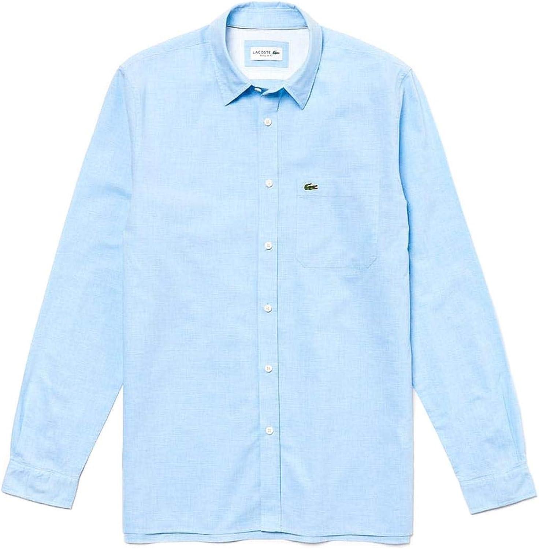 Lacoste Camisa Popelin Azul Claro Hombre 39 Azul: Amazon.es ...