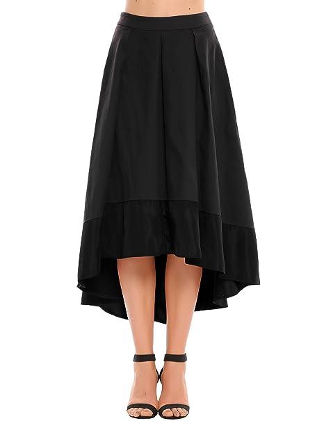 Zeagoo Women's High Waisted High Low A-Line Flowy Long Skirt (M,Black)