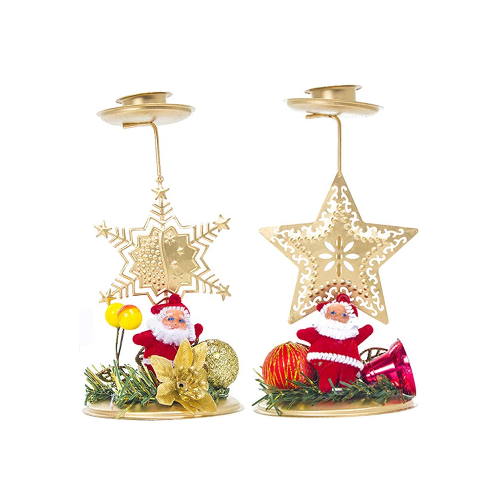 MayLove Christmas Candle Holder Centerpiece, Santa Claus Gold Candlesticks Holders for Table Decoration (2 PCS)