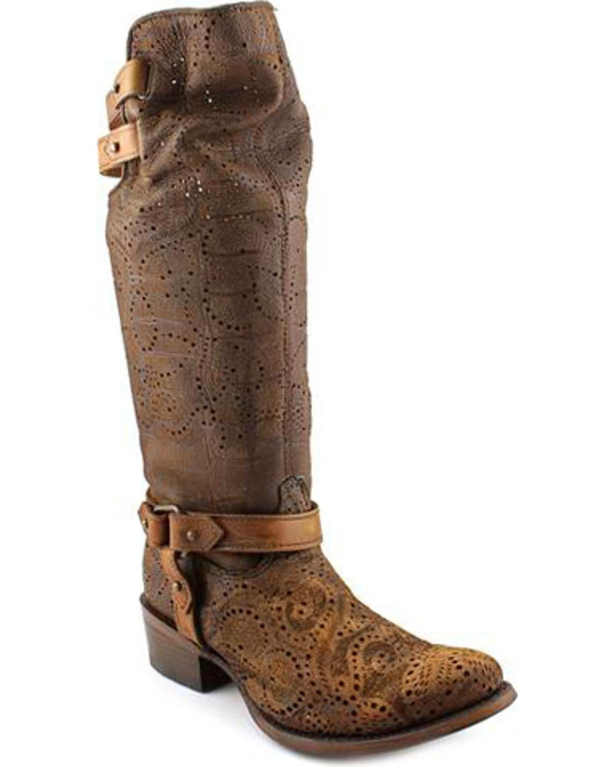 Corral Women's Chocolate Slouch Harness And Top Strap Cowgirl Boot Medium Toe Chocolate 8.5 M