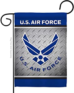 Breeze Decor Air Force US Garden Flag Armed Forces USAF United State American Military Veteran Retire Official Small Decorative Gift Yard House Banner Double-Sided Made in USA 13 X 18.5