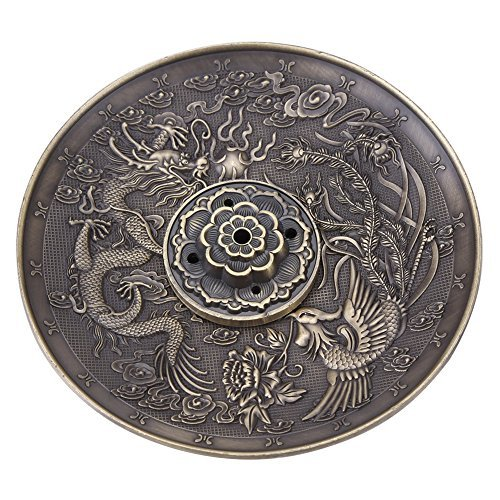 (Walfront Zinc Alloy Incense Stick Burner Holder Dragon Pattern Censer Plate for Bedroom Office,Fit for 1.8mm 2.5mm 3.5mm Incenser Sticks(Bronze))