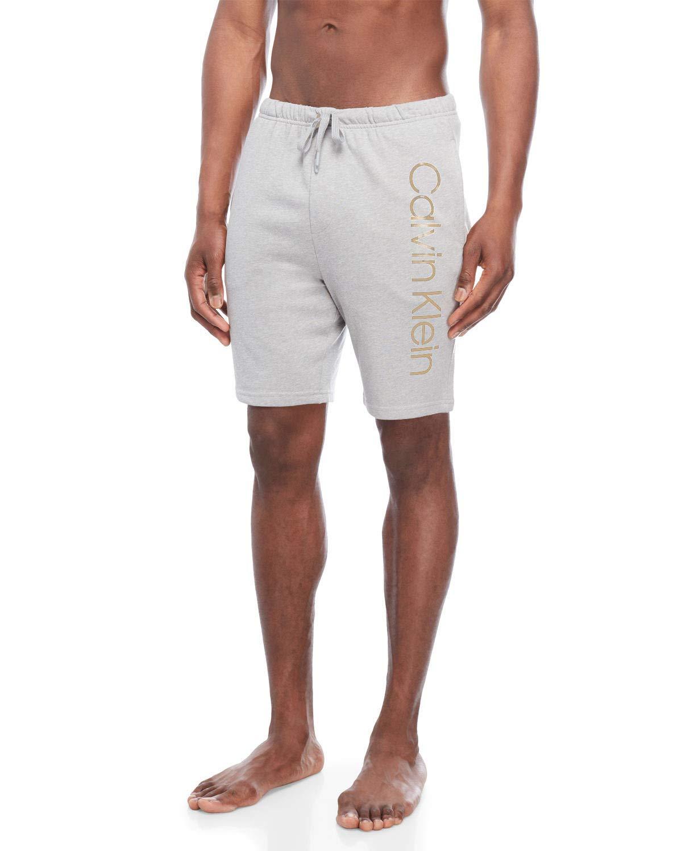 Calvin Klein Men`s Cotton Logo Lounge Sleep Shorts (Wolf Grey(NP2116-046)/Beige, Small)