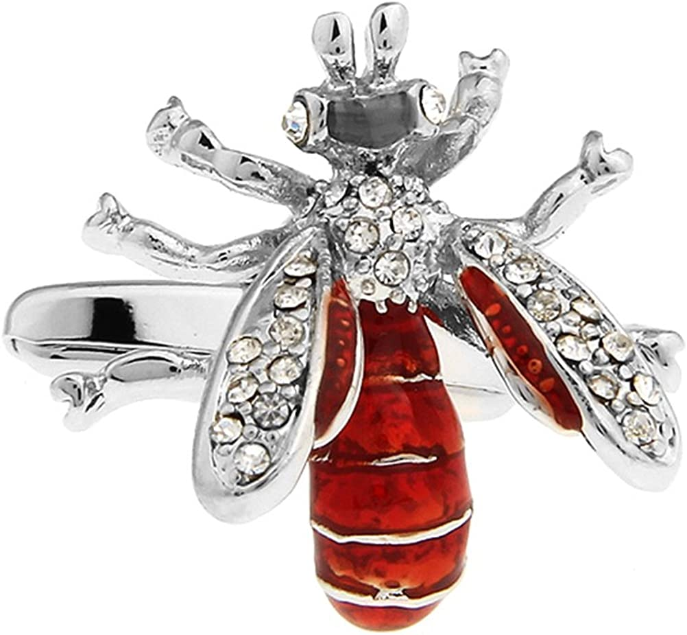 Shiny Red & Silver Enamel Copper Bee Cufflinks for Mens