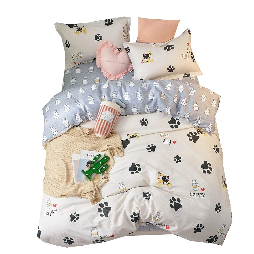 BHUSB Cute Kids Cartoon Cotton Duvet Cover Queen Set Dog Paw Print 3 Piece Animal Bedding Sets Full White Gray Boys Girls Teens Bedding Collection Hidden Zipper,4 Corner Ties