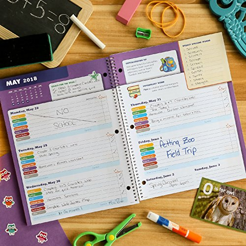 Dated Elementary Student Planner for Academic Year 2018-2019 (Block Style - 8.5''x11'' - Blue Burst Cover) - Bonus Ruler/Bookmark and Planning Stickers by Global Datebooks (Image #3)