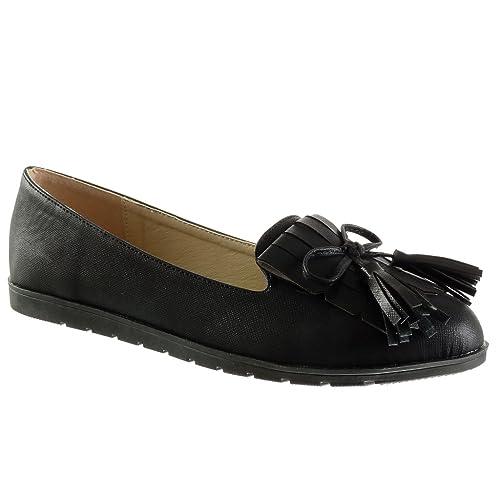 Angkorly - Zapatillas Moda Mocasines Slip-on Mujer Fleco Pompom Talón tacón Plano 1.5 CM: Amazon.es: Zapatos y complementos