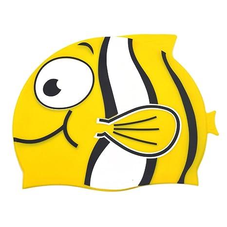 Cuffie Nuoto Silicone Bambino Asciugamano Capelli Turbante Elastica e  Adattabile Carina Forma di Pesce Pagliaccio Cuffia 406b9f7a5be1