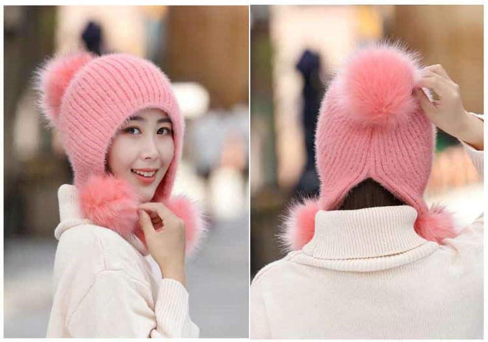 Pink HCY 1Pcs Women Girls Faux Fur Pom Pom Hat Earflap Warm Knitted Beanie Slouchy Cap Windproof