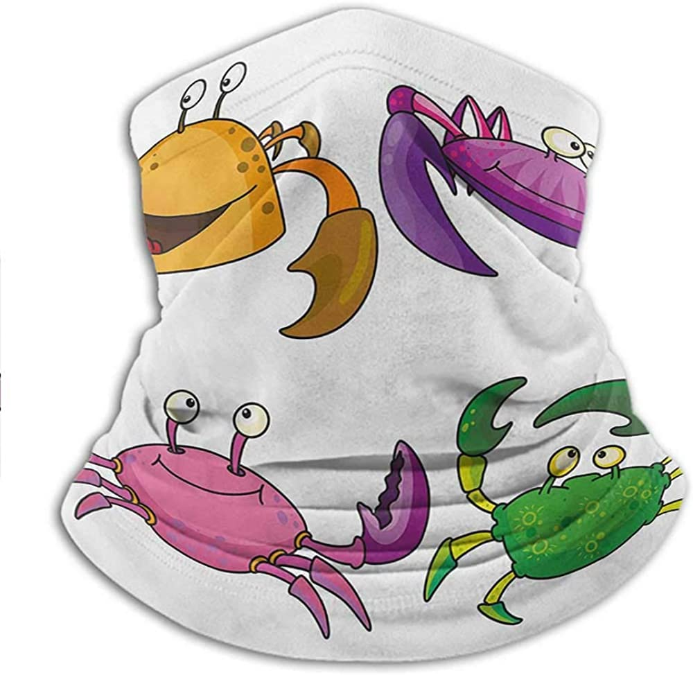 Crabs Shield Scarf Children Kids Theme Illustration of Funny Crabs Pattern Cartoon Style Print Outdoor Face Scarf Purple Fern Green Sports /& Casual