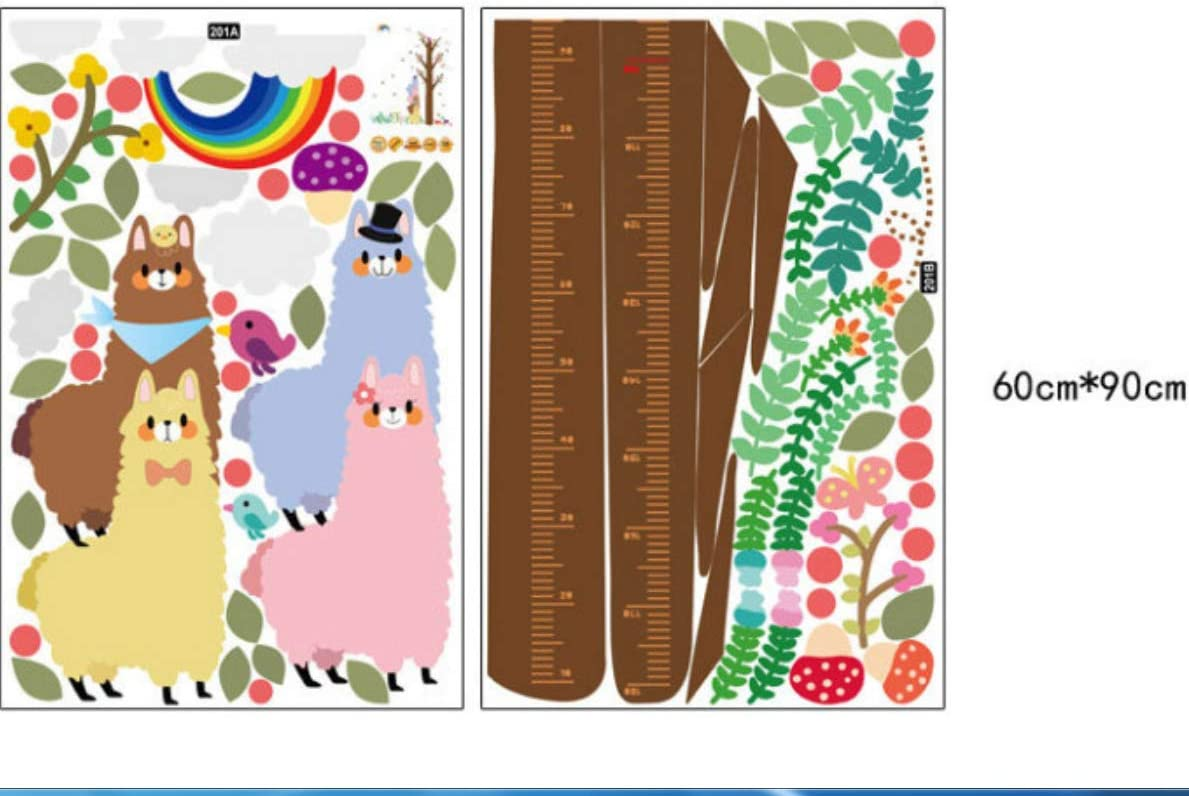 Pegatinas de pared Pegatinas de altura de alpaca de dibujos animados para habitación de niños Impermeable Decoración del hogar del caballo para pegatina de pared para niños 60 * 90 cm * 2