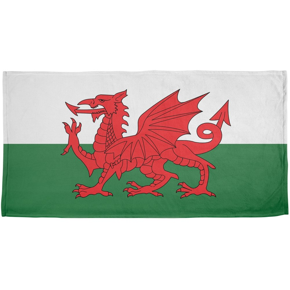 Welsh Flag All Over Beach Towel