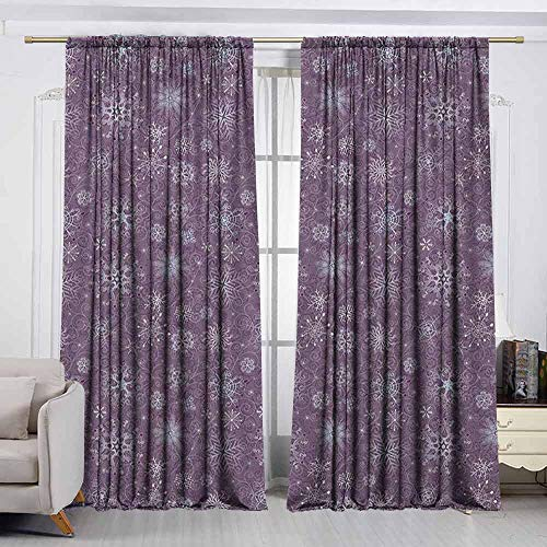 Home Decoration Thermal Insulated Curtains,Snowflake,Christmas Themed Floral Arrangement Ornamental Swirls and Curves Winter,Simple Stylish,W72x72L Inches Levander Violet]()