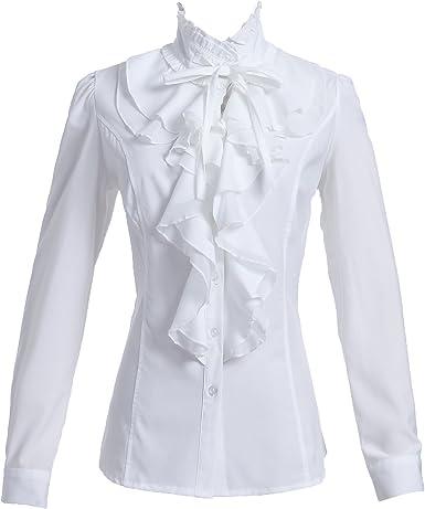 Taiduosheng - Blusa de manga larga para mujer, cuello alto y cuello con botones: Amazon.es: Ropa y accesorios