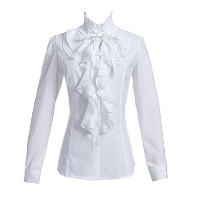 649bdf123a588 Taiduosheng Women Shirts Lace Ruffle Neck Stand-Up Collar Button down Blouse  Long Sleeve OL Shirt Tops  Amazon.co.uk  Clothing