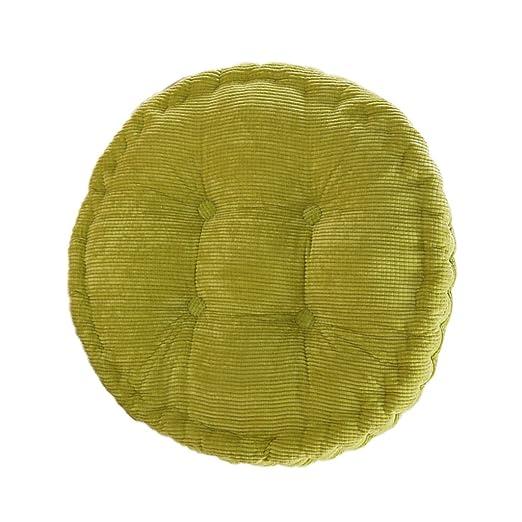 Cojín de Asiento Tatami Silla de Redonda Algodón para Oficina Hogar Coche - Verde