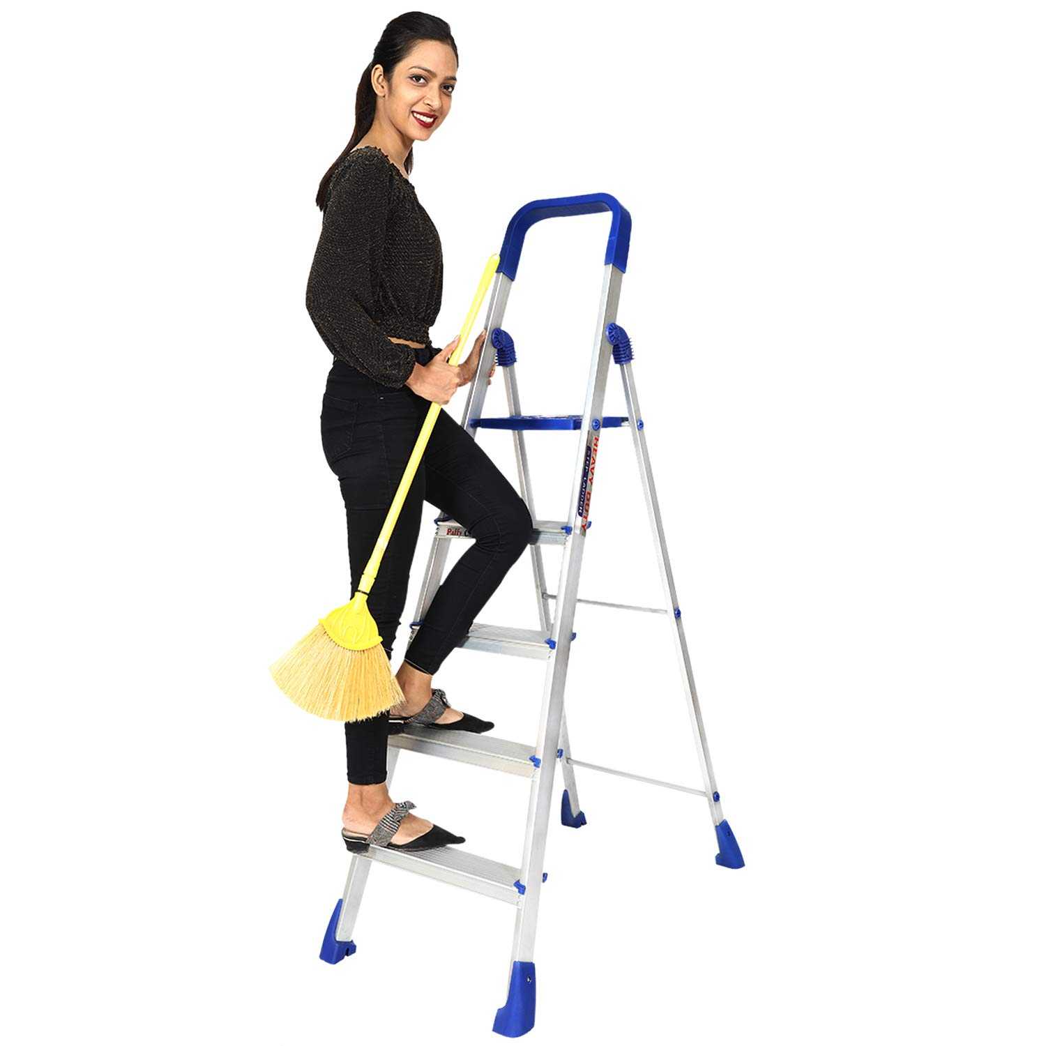 PAffy Premium Light Weight Aluminium Heavy Duty Folding Step Ladder - Maple 5 Steps (Made In India)