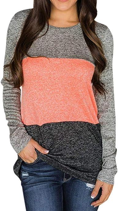 JiaMeng Mujer Camiseta Manga Larga Blusa Tops otoño Invierno Blusa de Manga Larga de Costura de Color Liso Deporte Básica Blusas para Mujer: Amazon.es: Ropa y accesorios