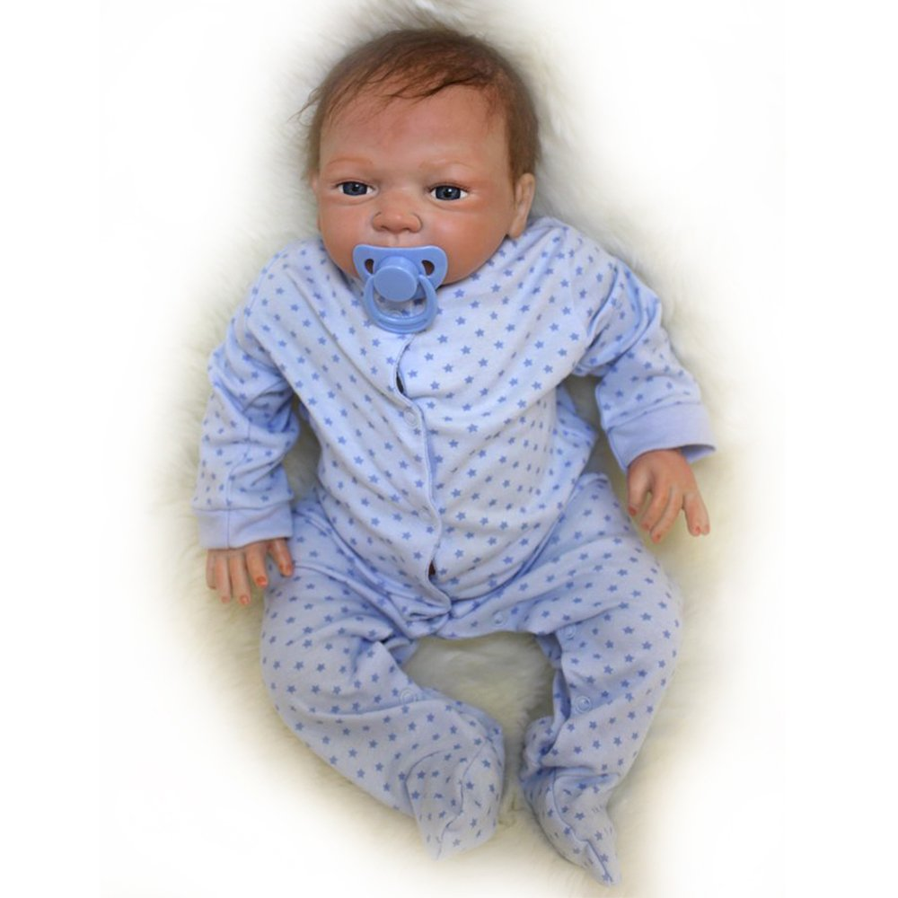 Yesteria 45 cm Reborn Babypuppen Junge Baby Doll Look Real Silikon Blaues Outfit