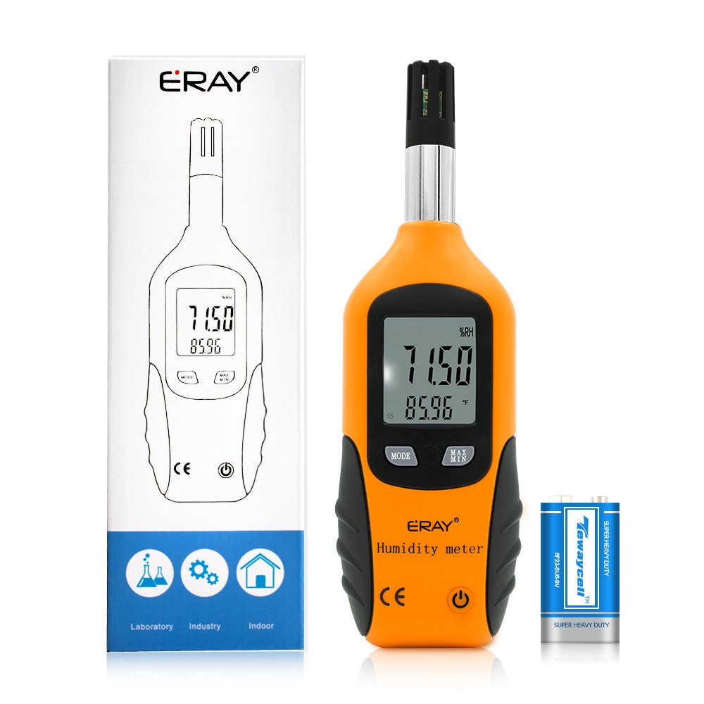 ERAY Temperature and Humidity Gauge Meter with Backlight Digital Psychrometer Thermometer Hygrometer, Dew Point and Wet Bulb Temperature, Battery Included by ERAY
