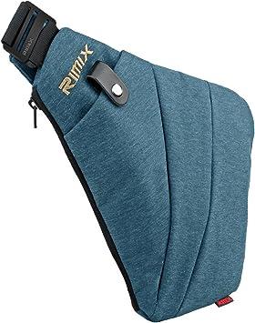 RIMIX Multiusos Anti-Robo de Seguridad Ocultos de la Bolsa Underarm Hombro axila Bolsa de Mensajero Deportes de Ocio Bolsa de Pecho Mochila port/átil para el tel/éfono Dinero Azul//para Derecha