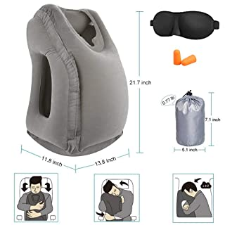 Inflatable Travel Pillow, Airplane Pillow,Travel Pillows for Airplanes, Car, Office for Neck Head Support, Lumbar and Leg Support at Home, Footrest Under Desk Foot Stool Pillow for Office and Home
