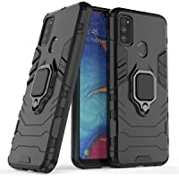 Designerz Hub® Samsung Galaxy M30s Double-Layer Shockproof and Sturdy Hybrid Protective Shell with Bracket Function, Suitable for Samsung Galaxy M30s - (Black)
