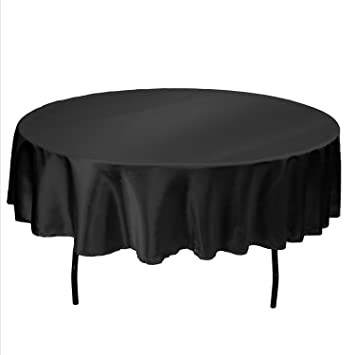 Delightful LinenTablecloth 90 Inch Satin Tablecloth, Round, Black