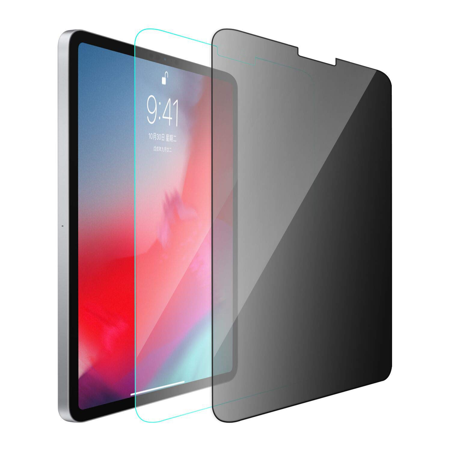 HYAIZLZ 360 Degree Privacy Screen Protector for iPad Pro 11 9H Hardness Tempered Glass Screen Protector(2018),1pcs privacy/1pcs Glass Screen Protector