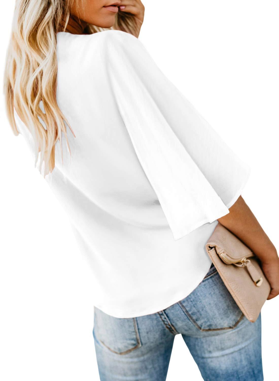 Asvivid kvinnor djup v-ringad knapp keps ärm slips knut avslappnad mode flödande blus skjorta toppar sommar 2020 5-white