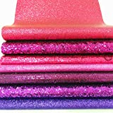 ZAIONE 7 pcs A4 (8'' x 12'') Sheets Colorful Sparkle Chunky Mixed Glitter Vinyl Faux Fabric Craft Leather Sew For Shoes Bag Sewing Patchwork DIY Craft Applique (Mixed Glitter-The Pink Series)