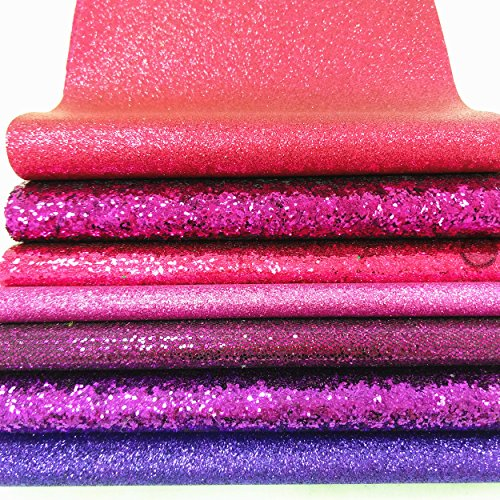 ZAIONE 7 pcs A4 (8'' x 12'') Sheets Colorful Sparkle Chunky Mixed Glitter Vinyl Faux Fabric Craft Leather Sew For Shoes Bag Sewing Patchwork DIY Craft Applique (Mixed Glitter-The Pink Series) by ZAIONE