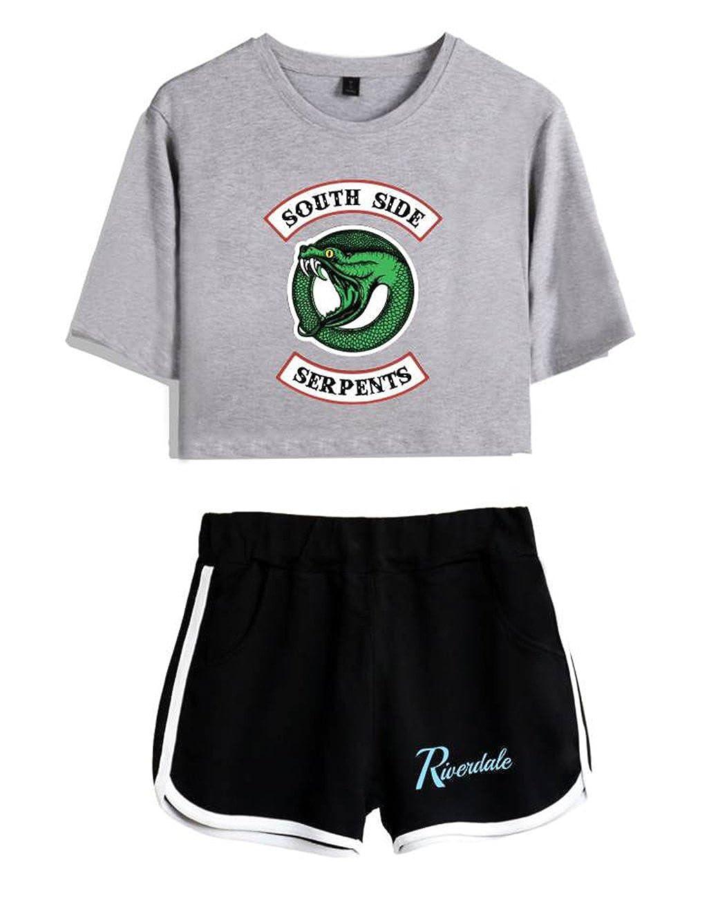 ZIGJOY Riverdale Crop Top T-Shirts und Shorts Kleidung Anzug für Mädchen und Frauen ZZIGJ-FRI-Riverdale-SUIT-W1
