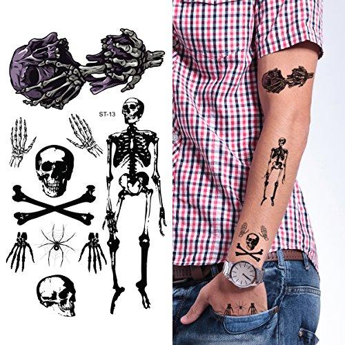 Supperb Temporary Tattoos - Skull Halloween Tattoo