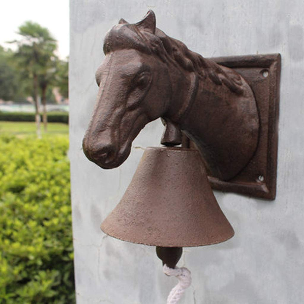 LBYMYB Horse Head Doorbell Retro Wrought Iron Bell Cast Iron Doorbell Villa Front Door Home Wall Decoration 16.5x10.5x19cm doorbell