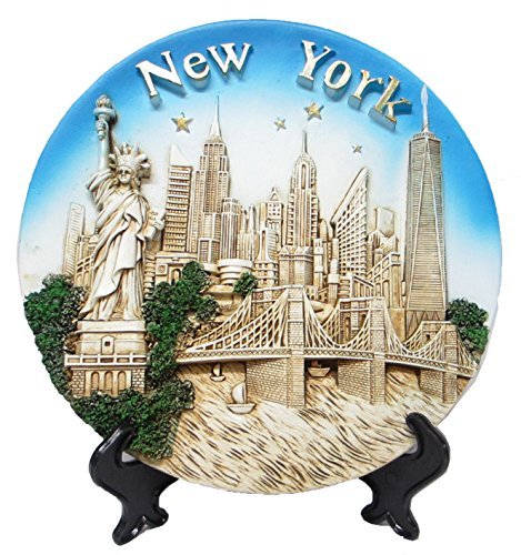 Wall Plate Souvenir (Lisa NY New York Souvenir 3D Polyresin Plate 8 Inches Diameter)