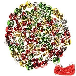 YiYa 200 Pezzi campanelli Natalizi campanelli Colorati campanelli Fai da Te per Decorazioni Natalizie ghirlande Decorazioni per Le Vacanze (Multicolore, 1 CM, 1,5 CM, 2,5 CM) 1 spesavip