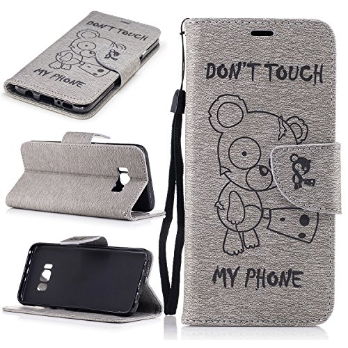 Price comparison product image Leather Case for Samsung Galaxy S8 Plus/Edge, Pressed Wallet Kickstand Flip Cover Case, Magnetic Thin Friendly Full Body Protective Credit Card Case for S8 Plus (Don't touch my Phone Bear Grey)