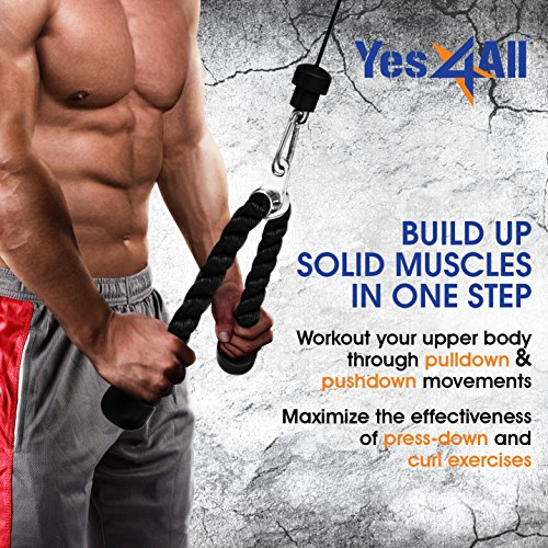 Yes4All Tricep Rope - Exercise Machine Attachment Press Down - 27'' Rope Length by Yes4All (Image #5)