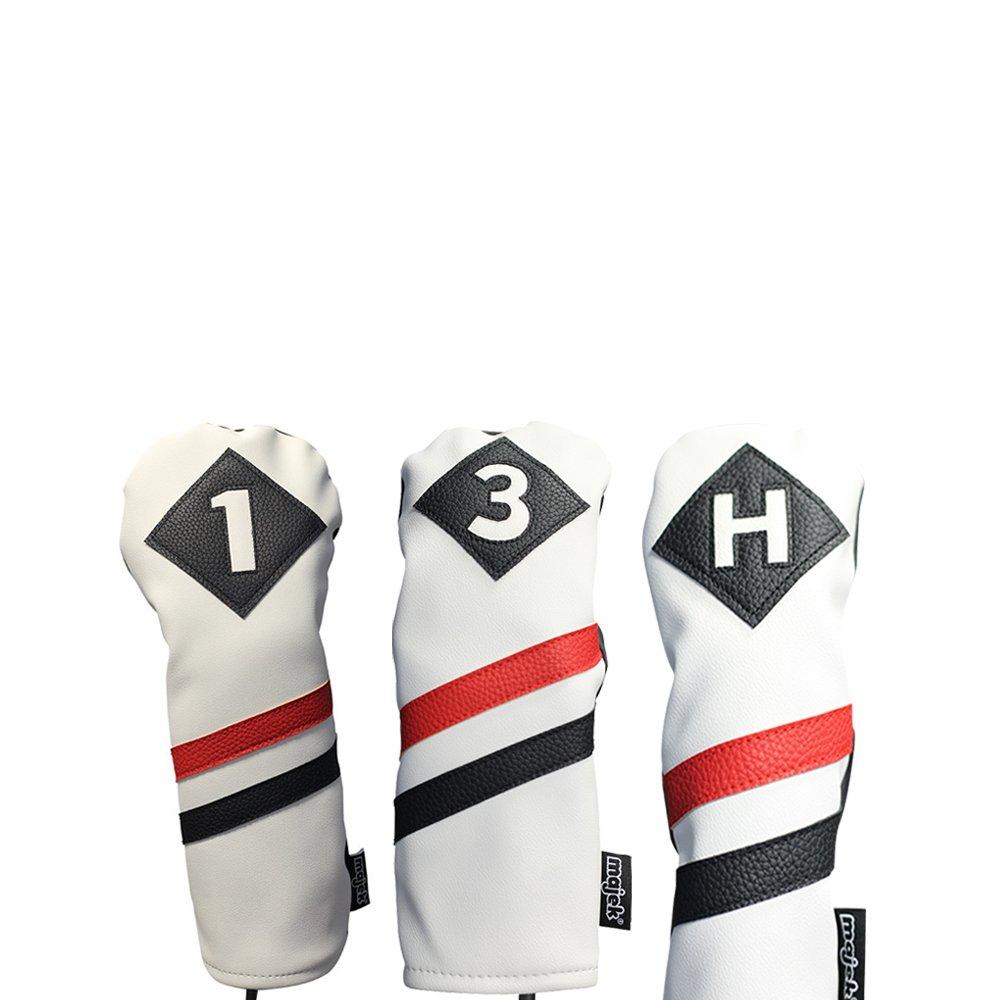 Majekレトロゴルフヘッドカバー3ホワイトレッドとブラックヴィンテージレザースタイル1 3 Hドライバーフェアウェイウッド木製、ハイブリッドヘッドカバークラシックLook B077GJ9TTV