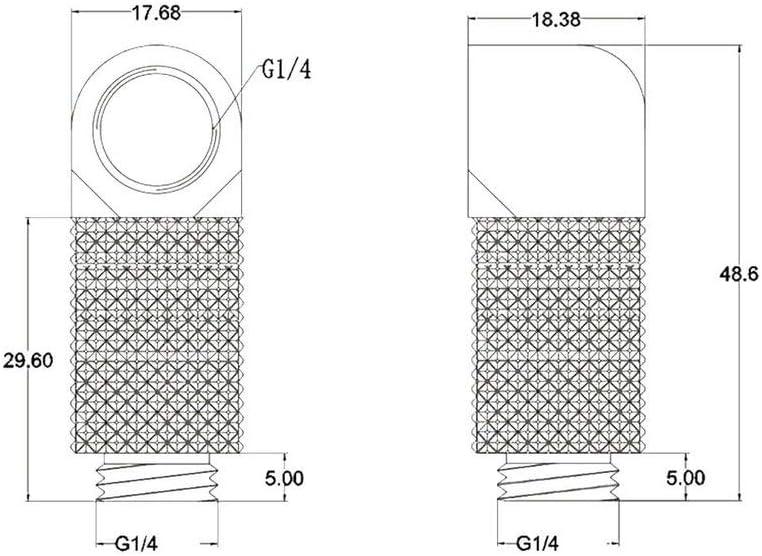 Bykski G1//4 Male to Female 90 Degree Rotary 25mm Extension Elbow Fitting Black B-RD90-EXJ25