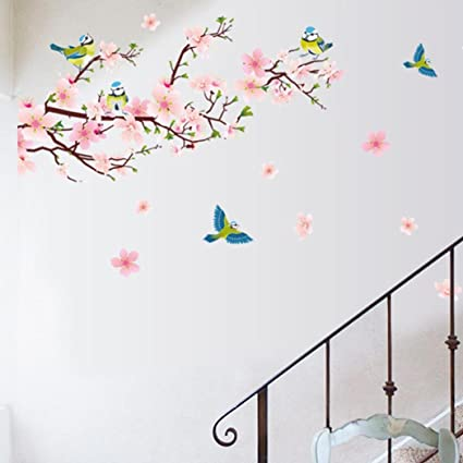 Amazon Com Reyo Wall Stickers 1 Cent Item Room Peach Blossom Flower