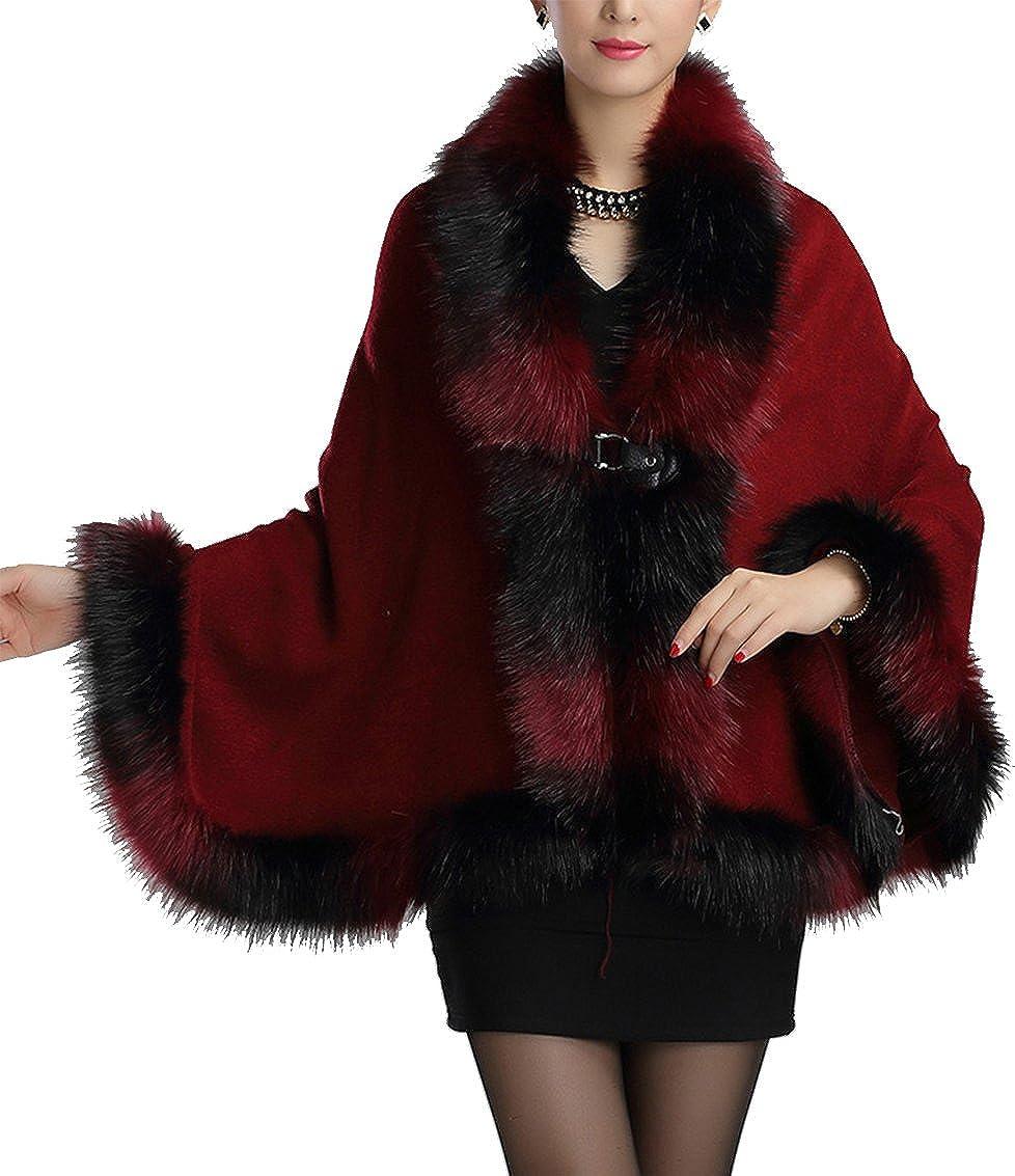 Helan Women's Warm Luxury Style Faux Fur Cloak Cape Coat FURCOAT15101204-B
