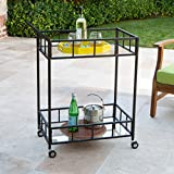 Varacruz Outdoor Industrial Modern Black Powder Coated Iron Bar Cart with Tempered Glass Top