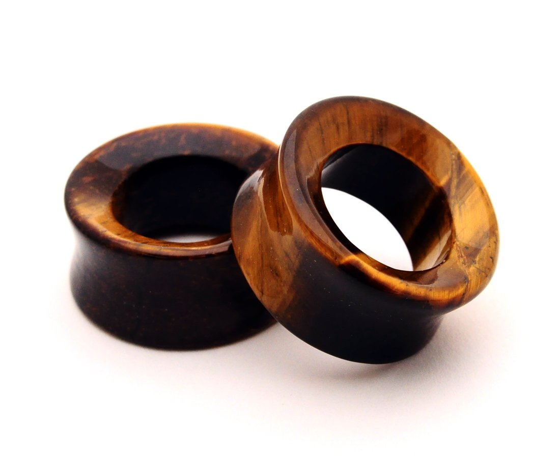Tiger Eye Stone Concave Tunnels - 7/8'' - 22mm - Sold As a Pair