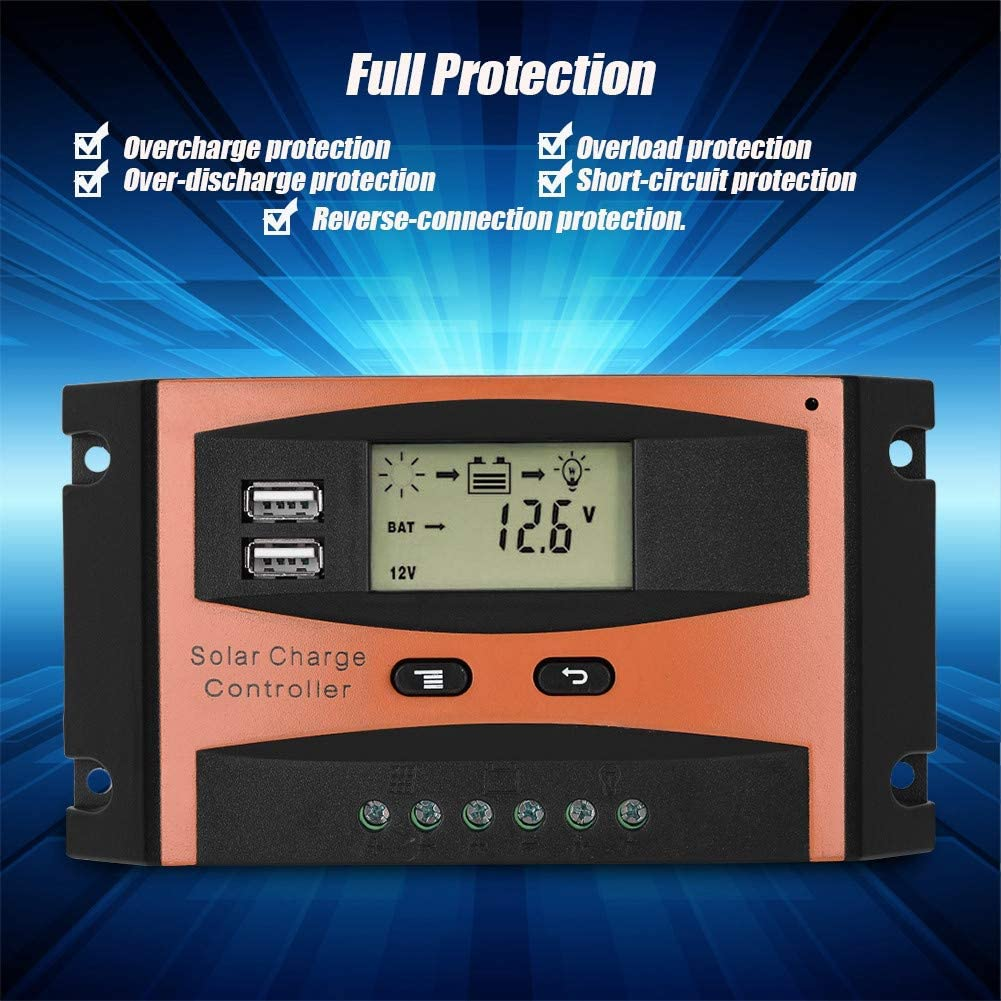 Solar Charge Controller 30A IP32 Waterproof Dual USB LCD Display PWM Solar Panel Controller 30A 50V