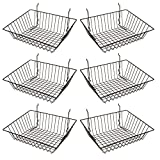 Econoco - Black Multi-Fit Sloping Wire Basket for Slatwall, Pegboard or Gridwall (Set of 6) Metal Semi-Gloss Basket, Black